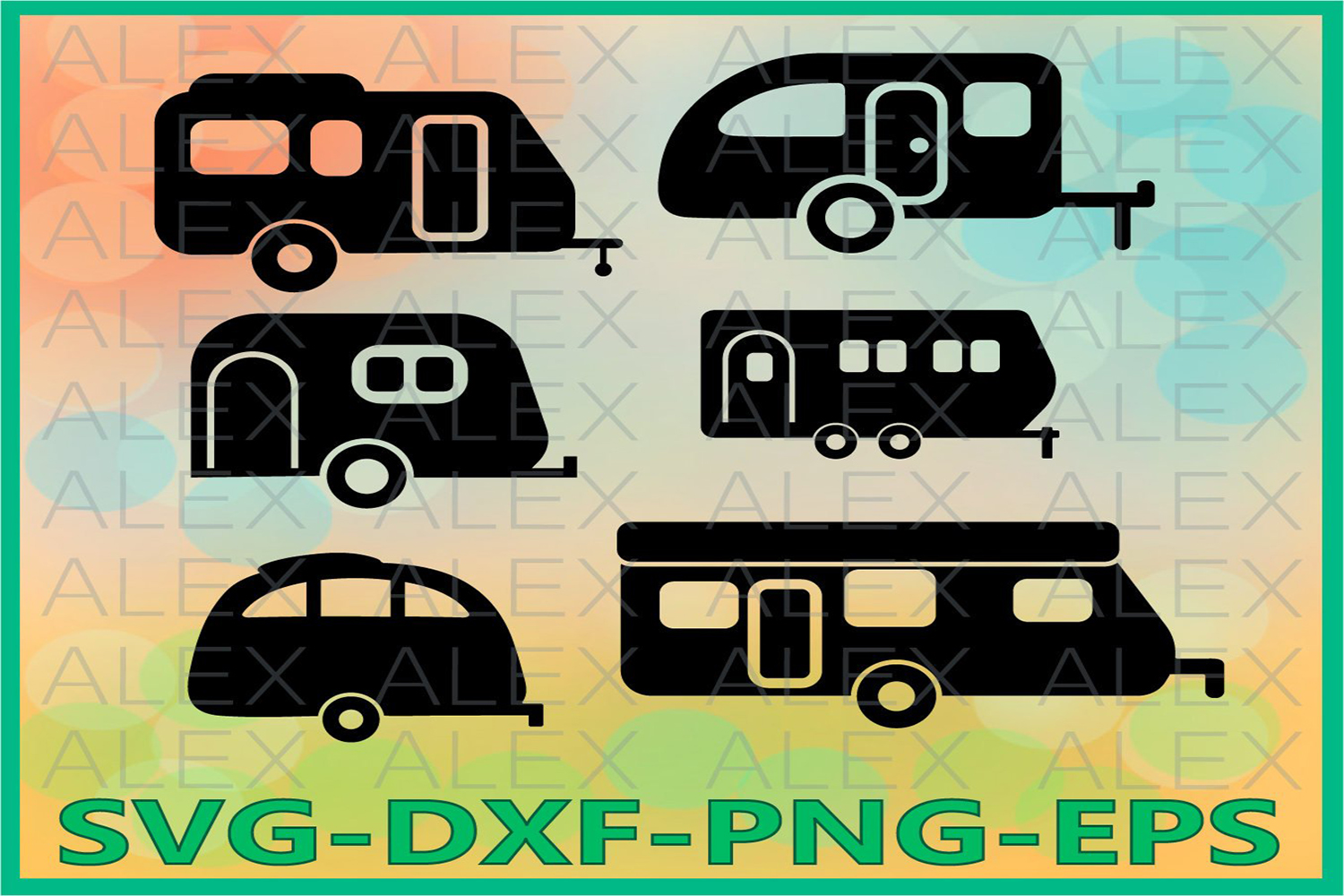 Camper SVG, Camping Svg, Camper Silhouette Cutting File example image 1