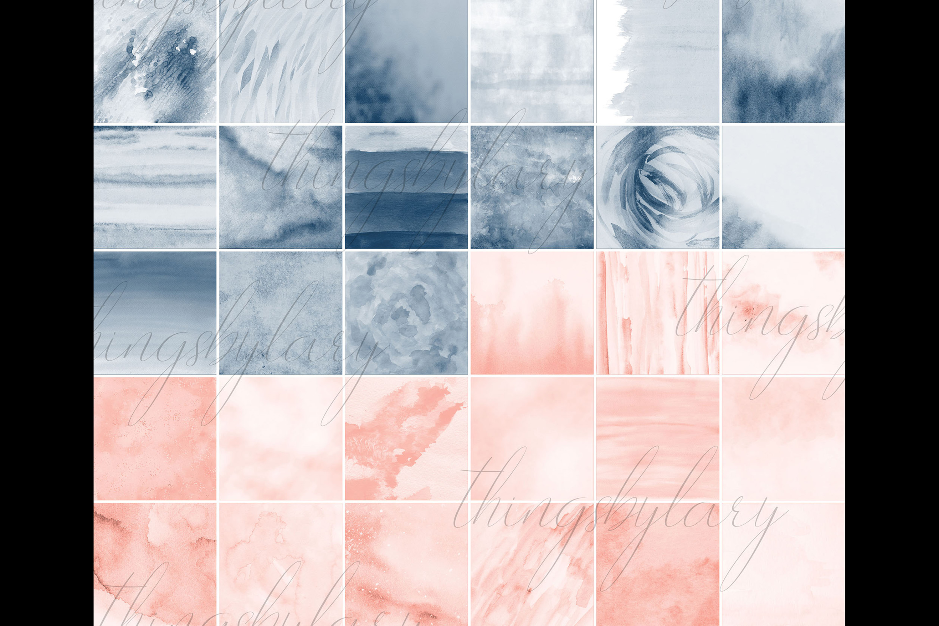 30 Ombre Sapphire & Flamingo Watercolor Digital Papers example image 9