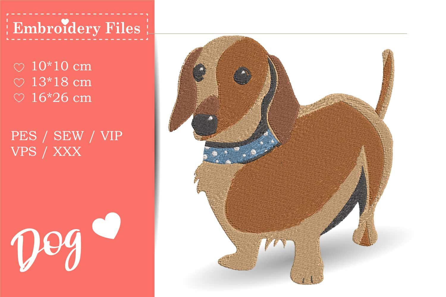 Cute Dachshund - Embroidery File for Beginners example image 1