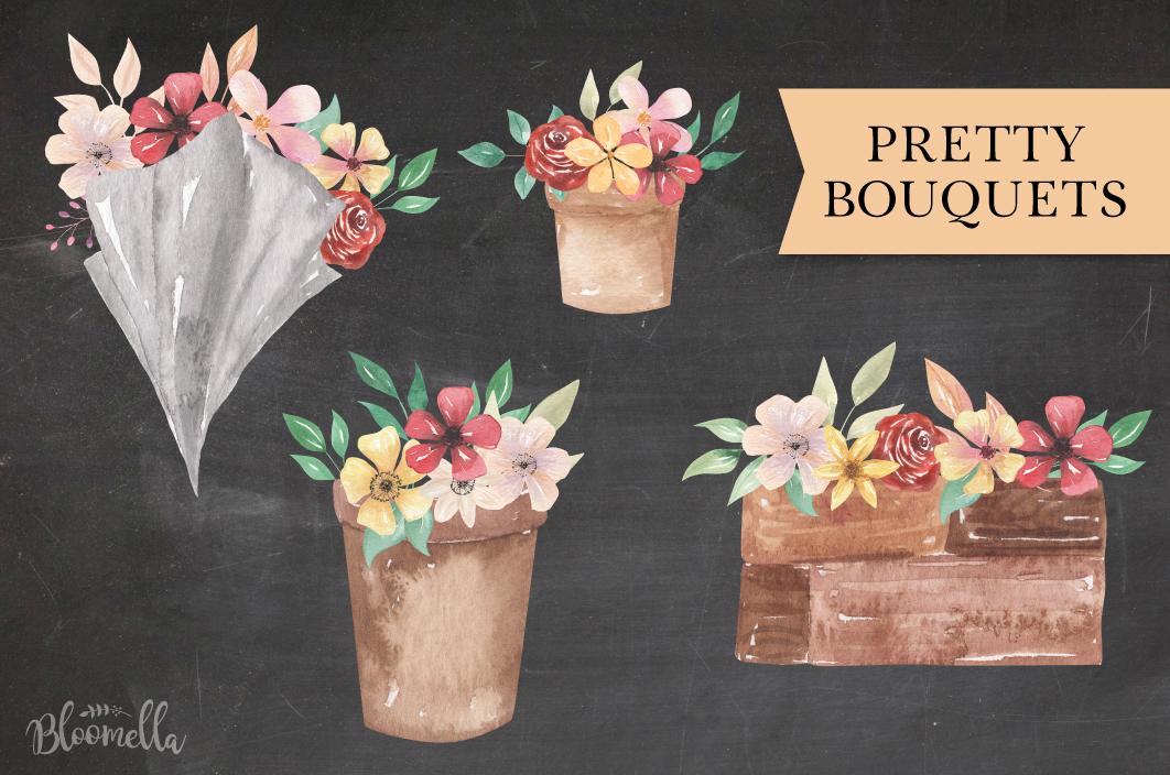 Floral 8 Bouquets Boxes, Flower Pots Watercolor Elegant example image 5