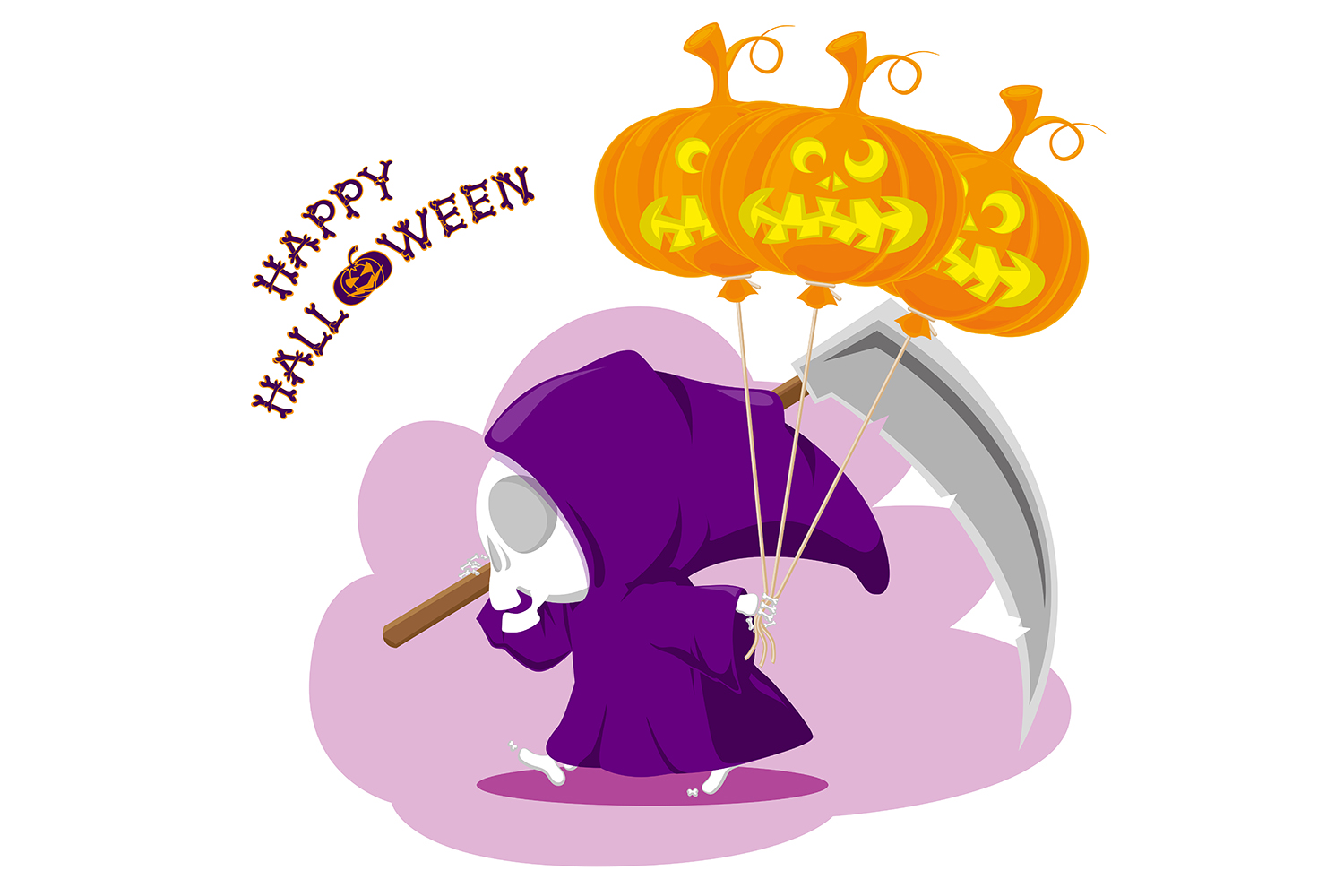Set of 12 figure funny little death with large scythe and halloween pumpkin. Vector illustration example image 13