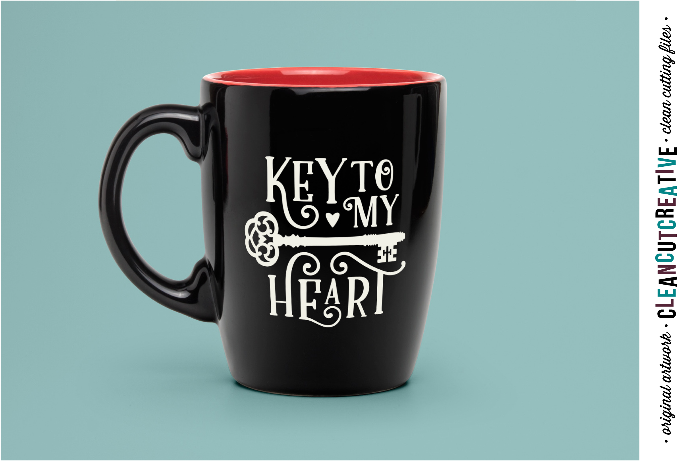 Key to my Heart - Love Cutfile Vintage Key- SVG DXF EPS PNG - Cricut & Silhouette - clean cutting files example image 2