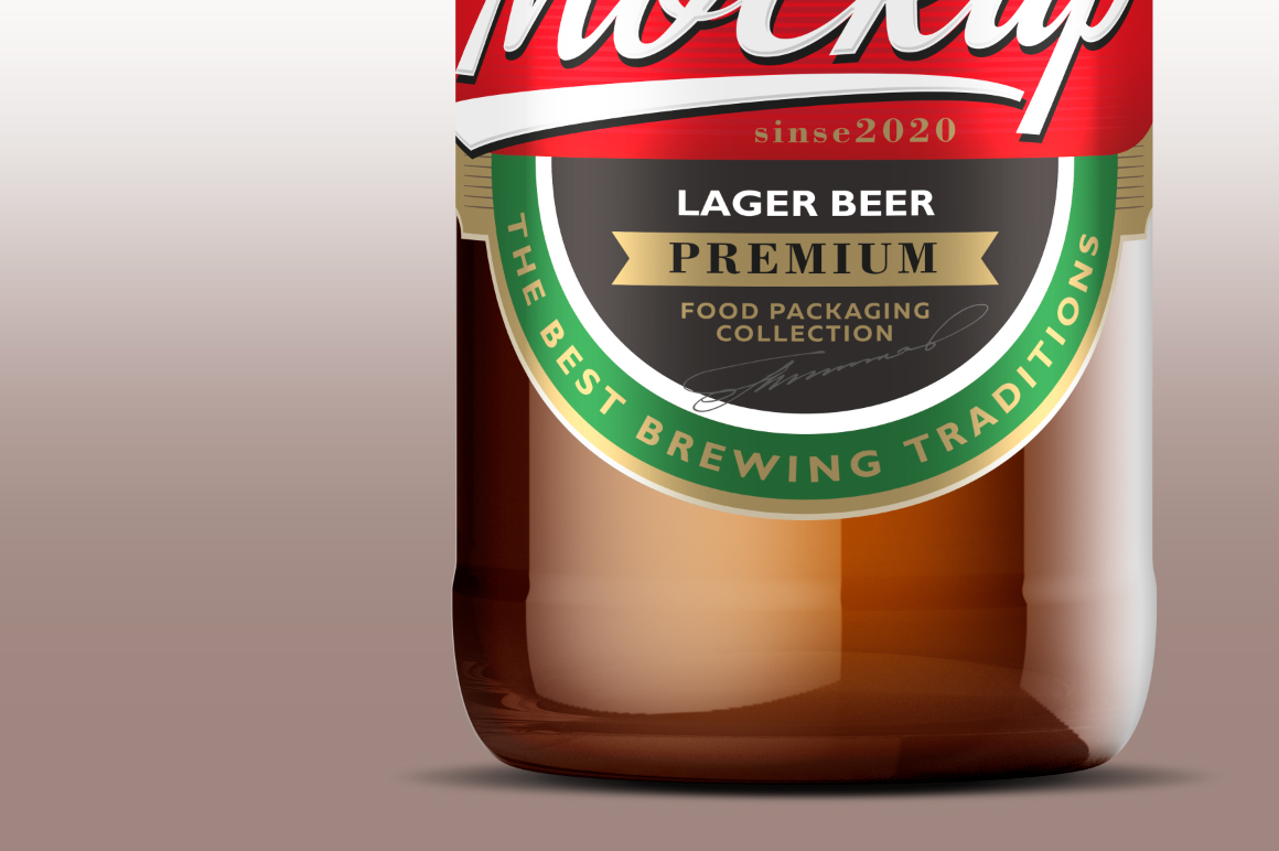 Amber Glass Beer Bottle Mockup 500ml example image 4