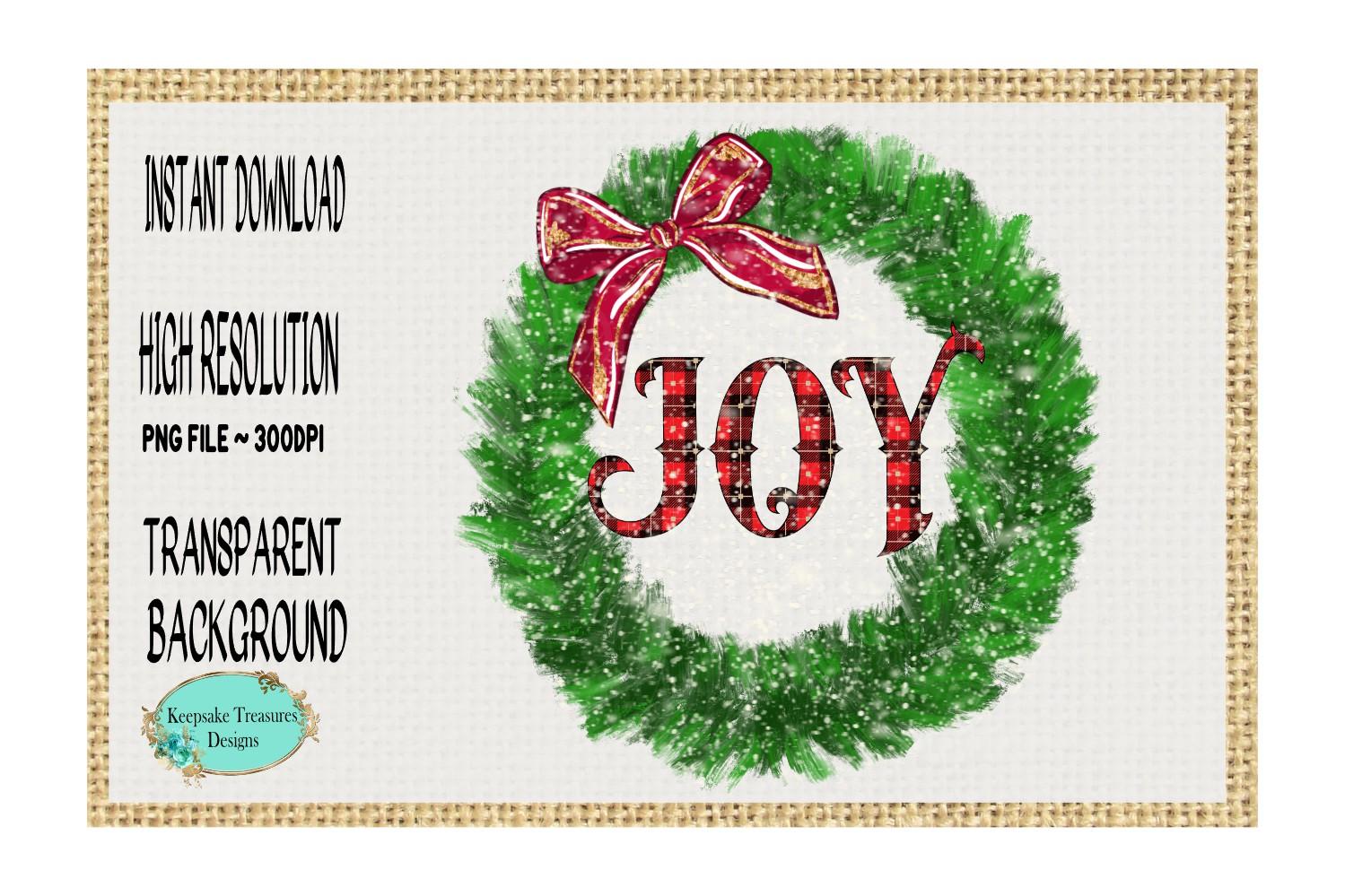 Joy Pine Wreath, Sublimation Design example image 1