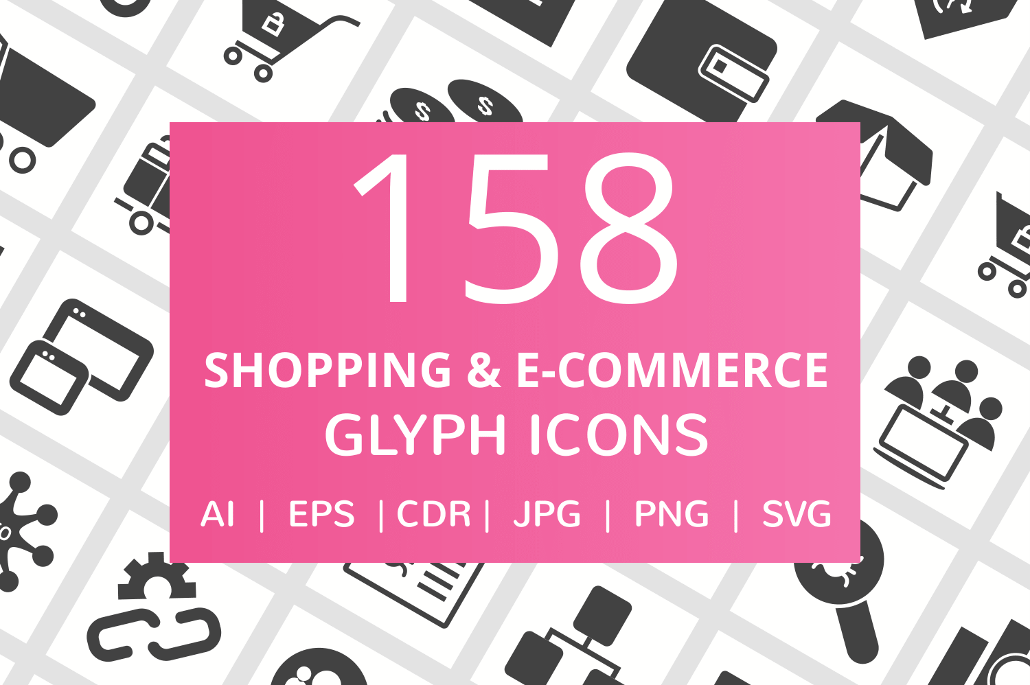 158 Shopping & E-Commerce Glyph Icons example image 1