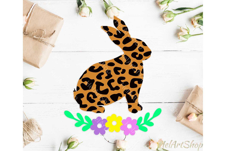 Leopard Print Bunny svg, Easter Bunny svg, Floral bunny svg example image 1