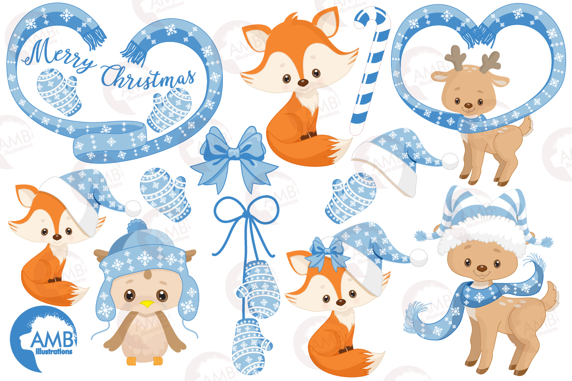 Christmas Forest critter Clipart, graphics, illustrations AMB-1515 example image 2