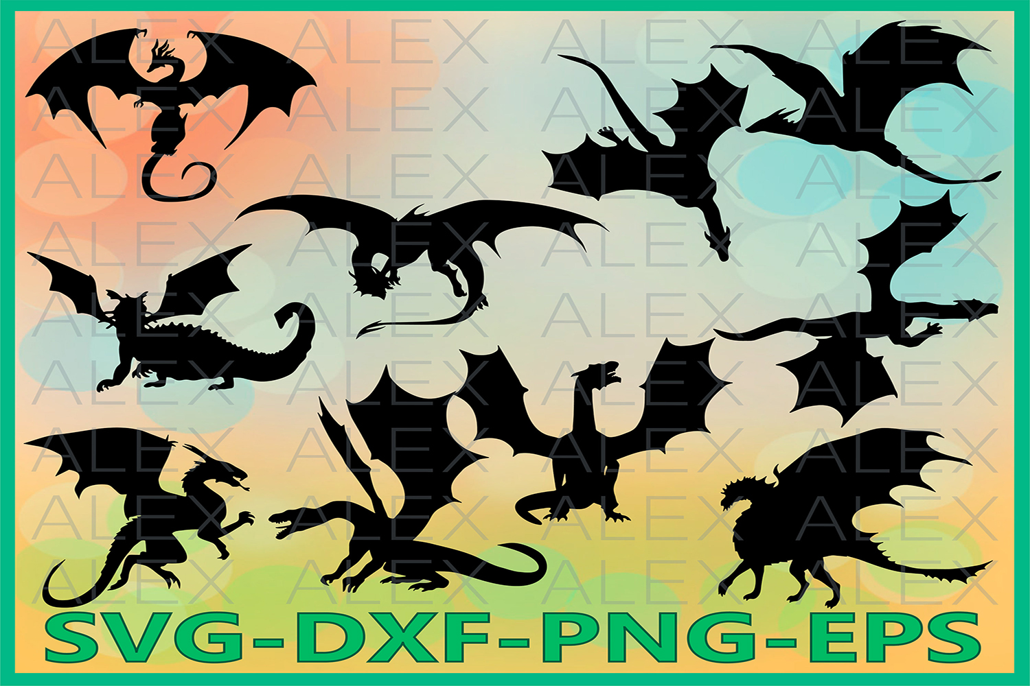 Dragon Silhouette SVG Files, Dragon Clipart Pack Svg Files example image 1