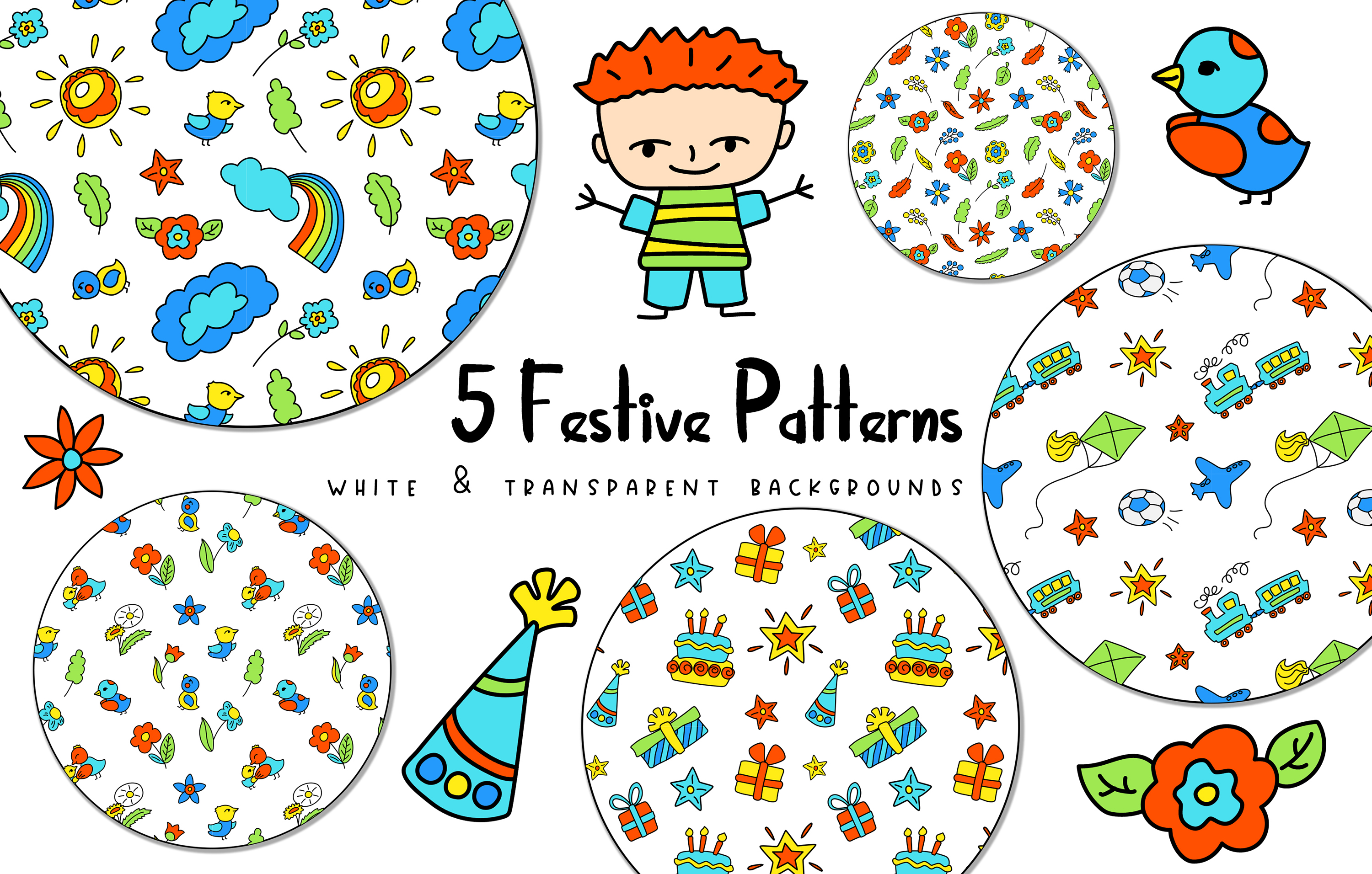 Happy Family Simple Vector Clipart and Patterns example image 3