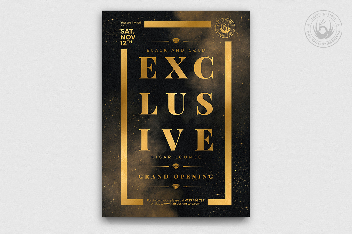 Black and Gold Flyer Template V14 example image 1