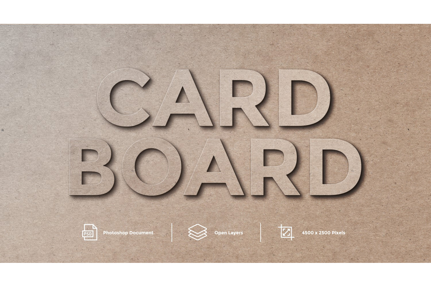 Card Board Text Effect Design Photoshop Layer Style Effect example image 1