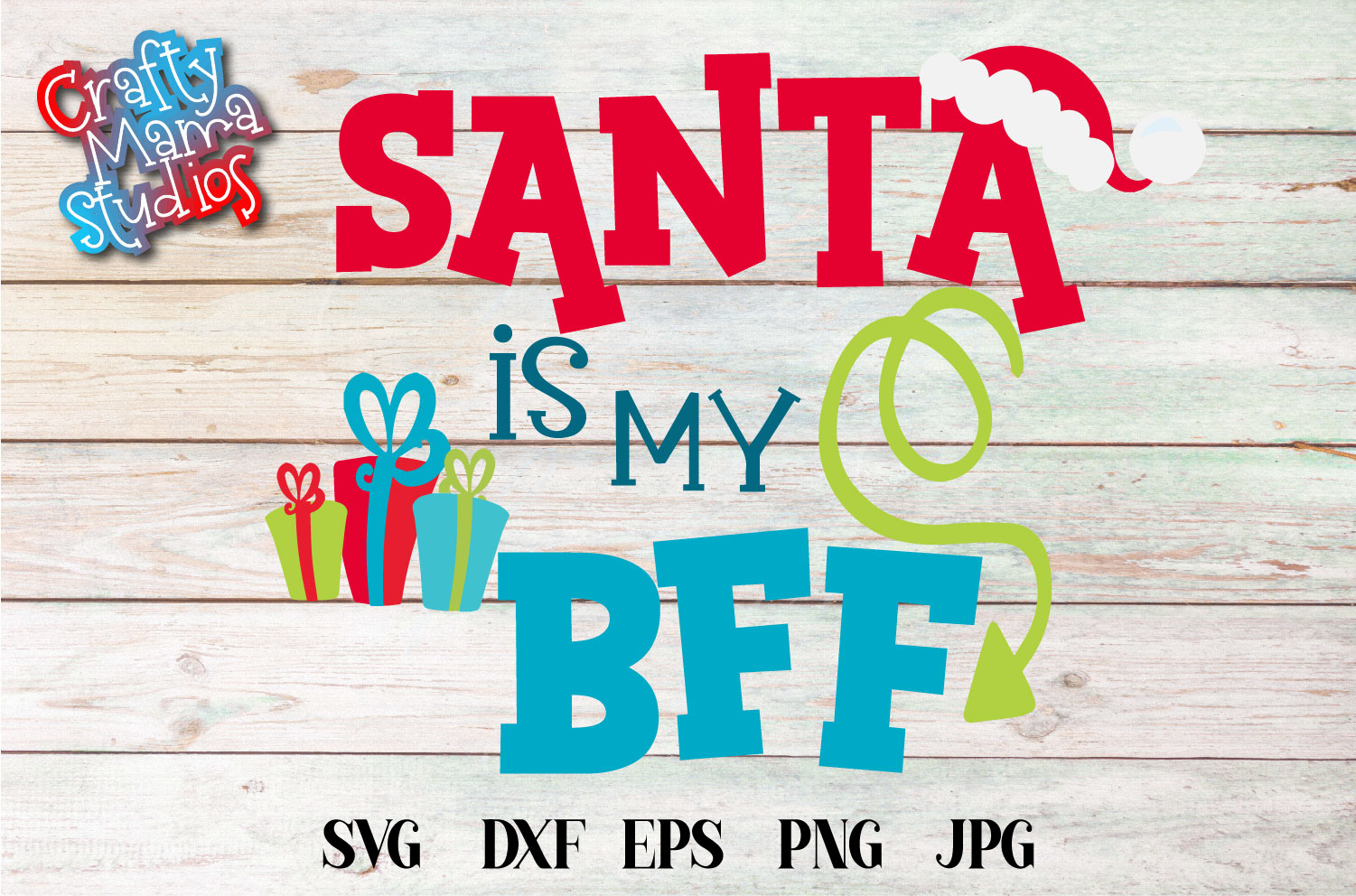 Christmas SVG, Santa Is My BFF Sublimation, Best Friends example image 2