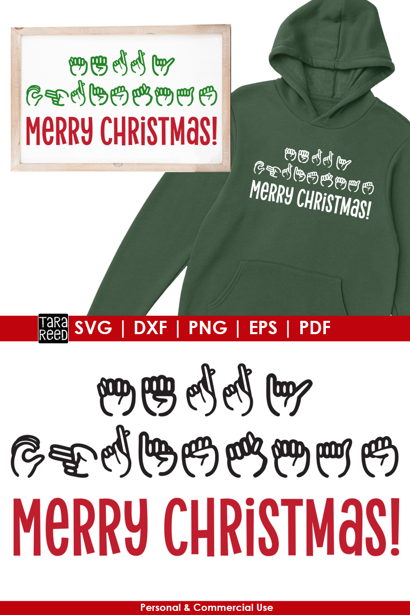 ASL Merry Christmas - Sign Language SVG & Cut Files example image 2