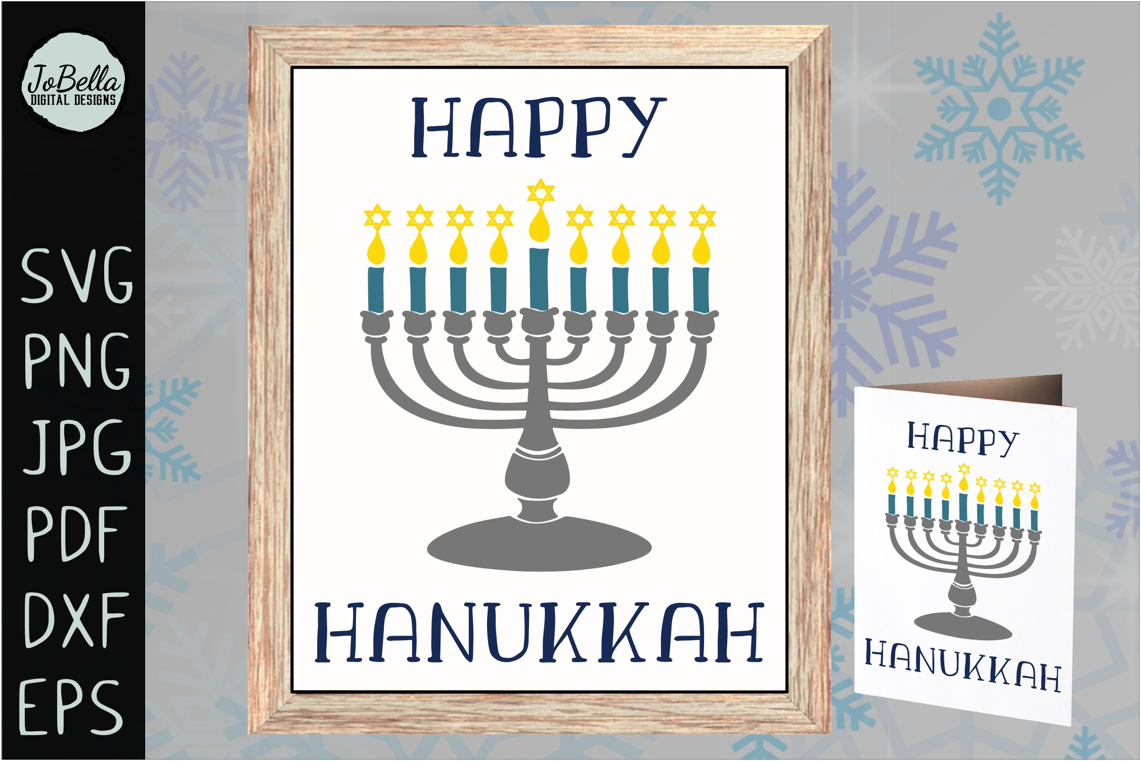 Menorah and Happy Hanukkah SVG, Printable and PNG example image 2