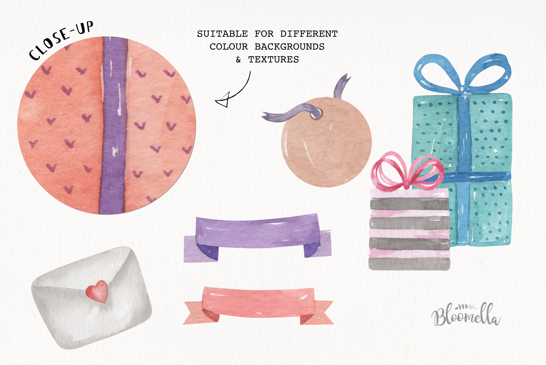 Watercolor Presents Gifts Clipart Elements Tags Banners Bows example image 9