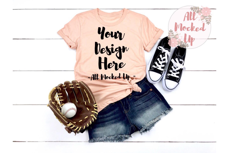 Bella Canvas 3001 / 3413 PEACH Shirt Baseball Mock Up 3/19 example image 1