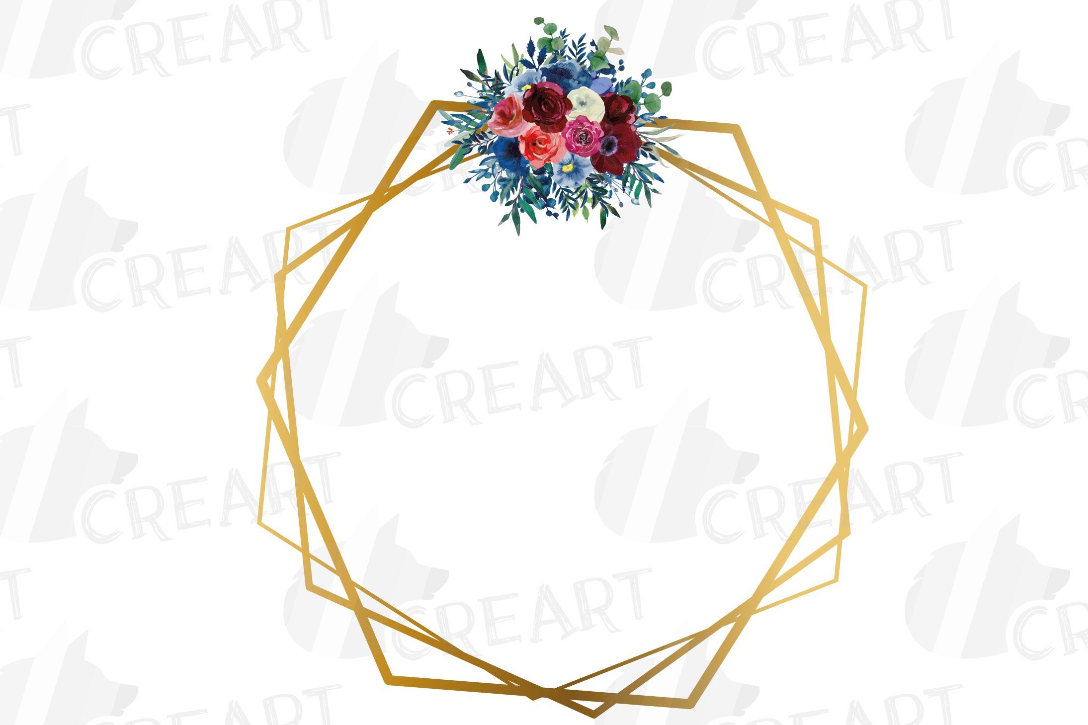Watercolor elegant floral borders clip art. Wedding frames example image 10
