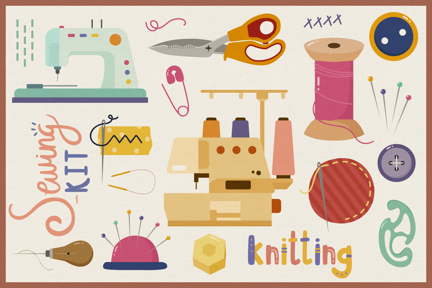 Sewing Starter Kit Vector Clipart and Seamless Pattern example image 4
