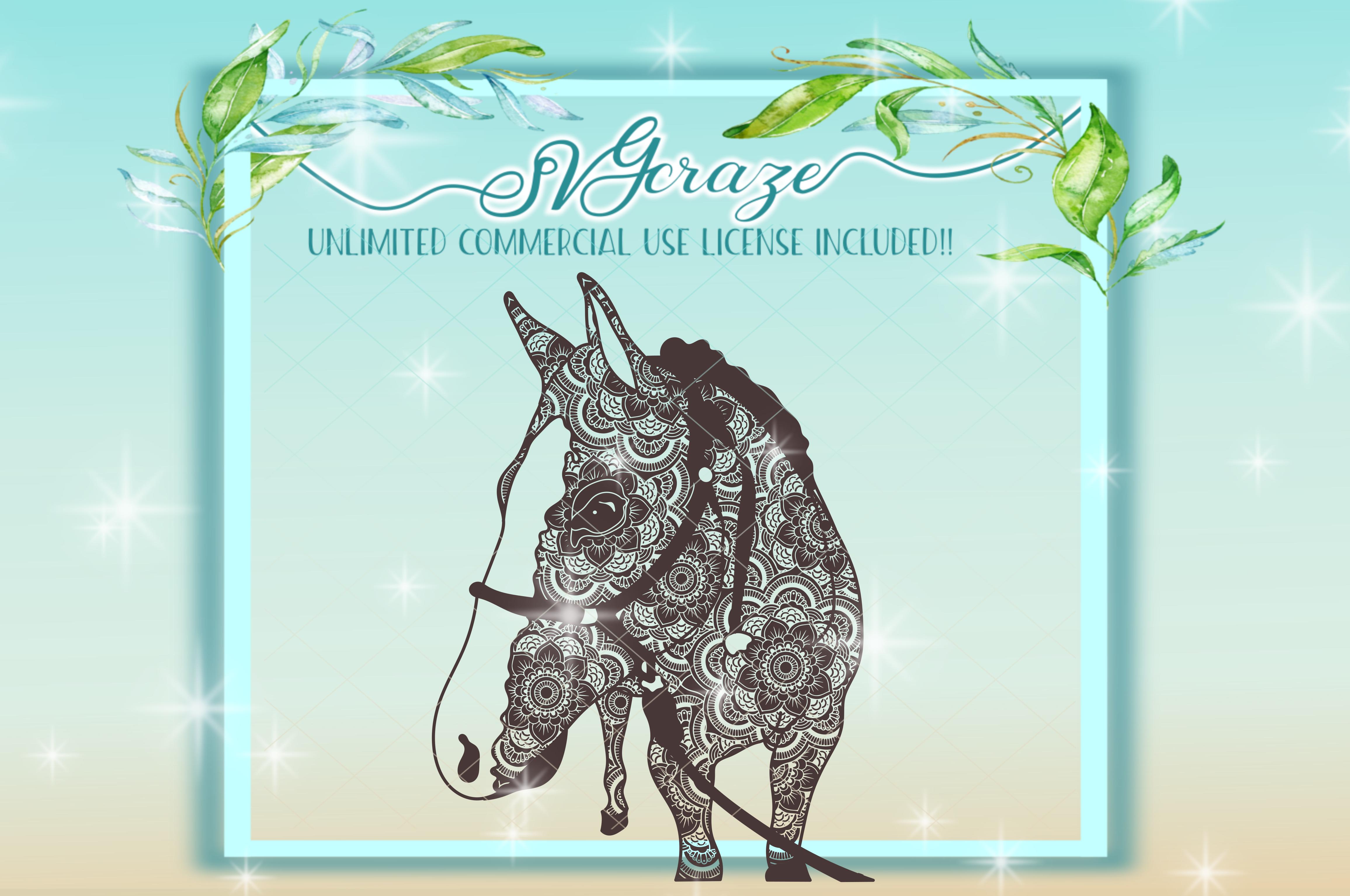 Horse Mandala Zentangle Svg Dxf Files For Cricut example image 5