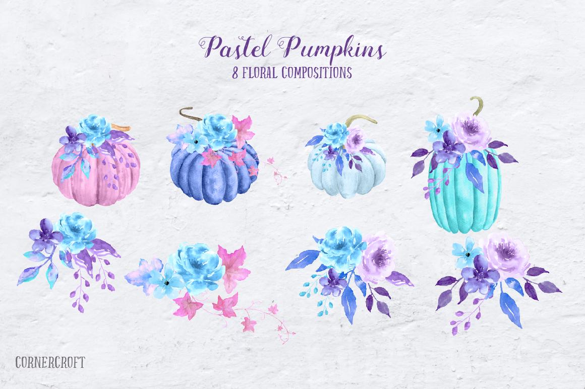 Watercolor Pastel Pumpkins example image 4