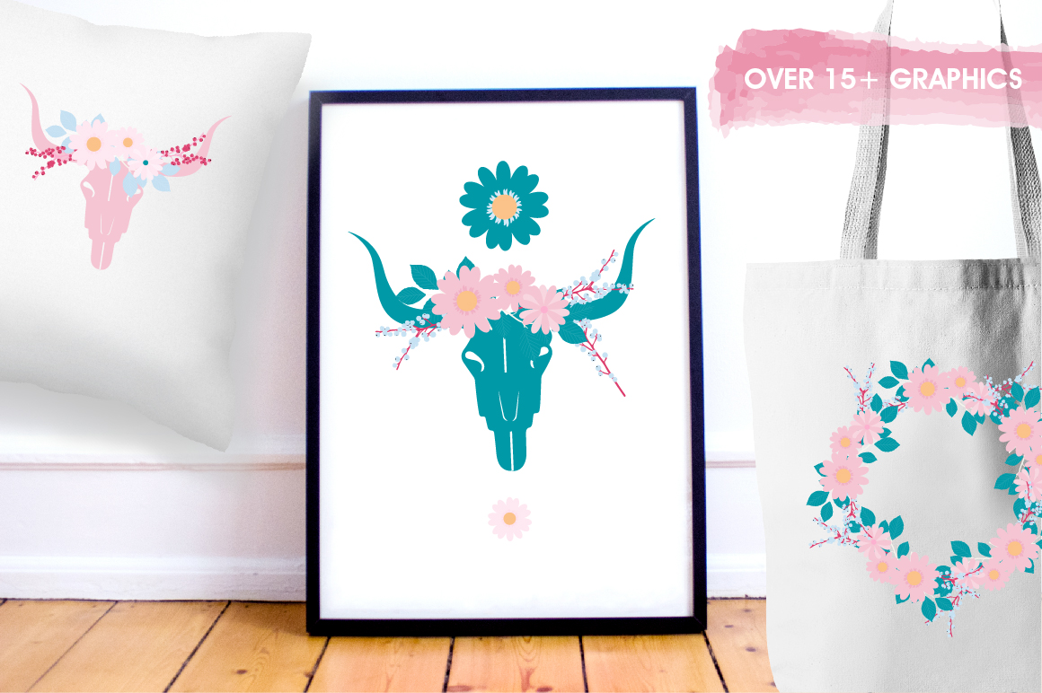 Boho Florals graphics and illustrations example image 5