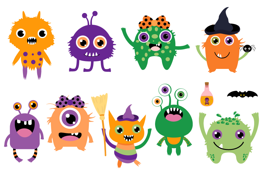 Cute Halloween monsters clipart set, Funny silly creatures ...