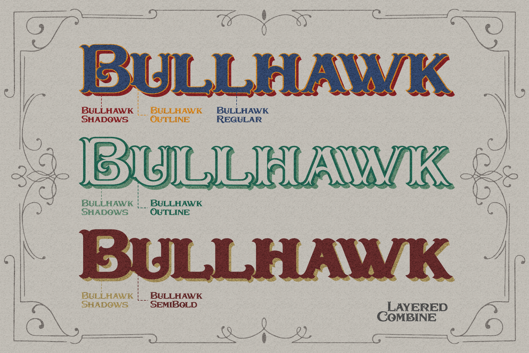 Bullhawk Layered Font Extra example image 3
