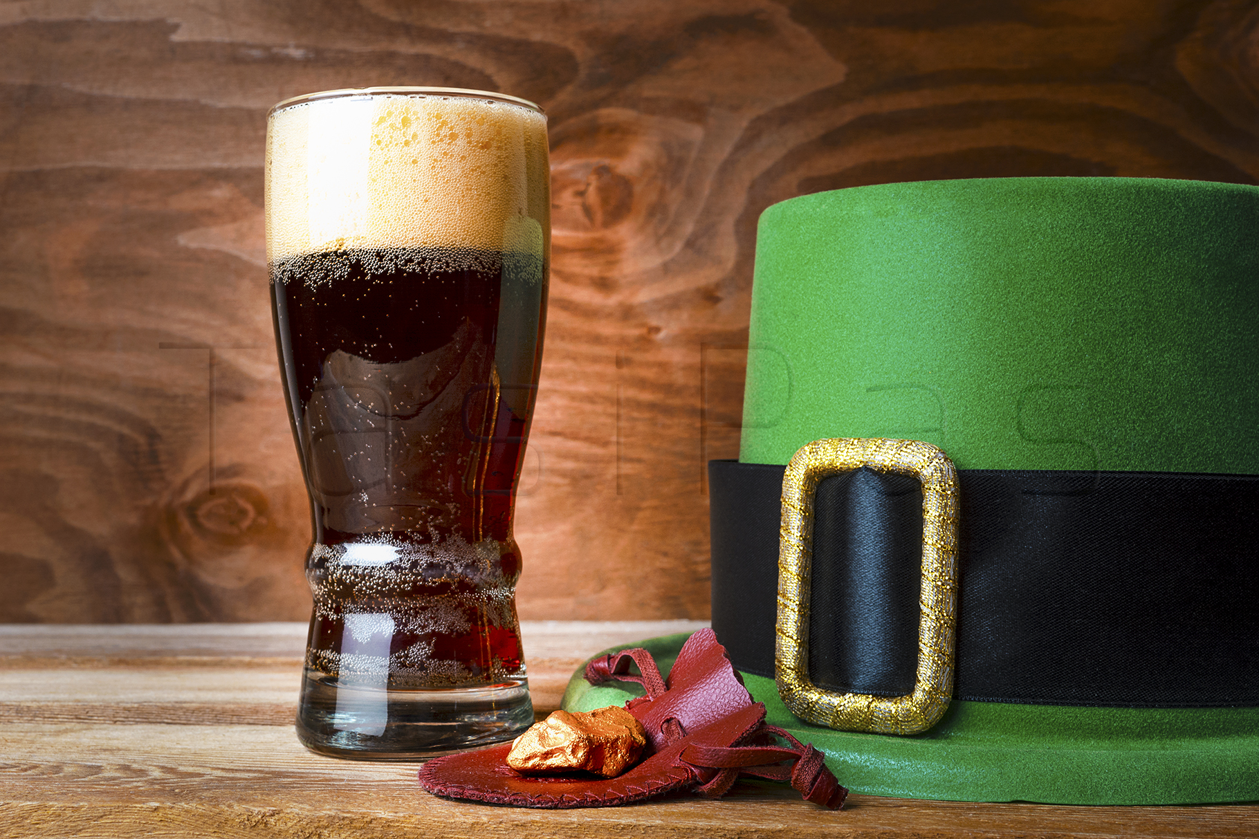 St.Patrick green hat, beer glass and gold  example image 1