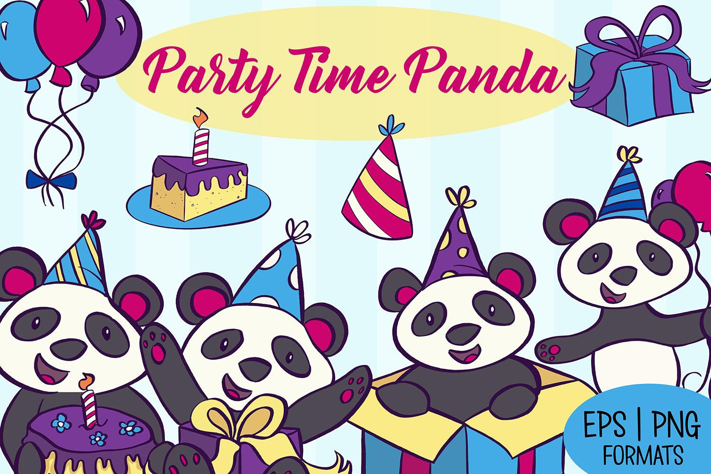 Party Panda Birthday Illustrations example image 1