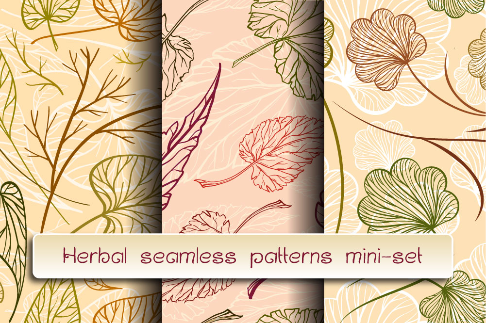 Herbal seamless patterns mini-set example image 1