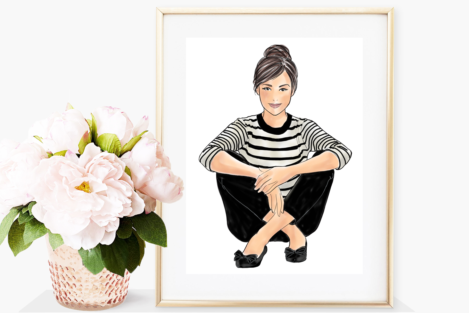 Fashion illustration - Girls in striped T - Light Skin example image 4