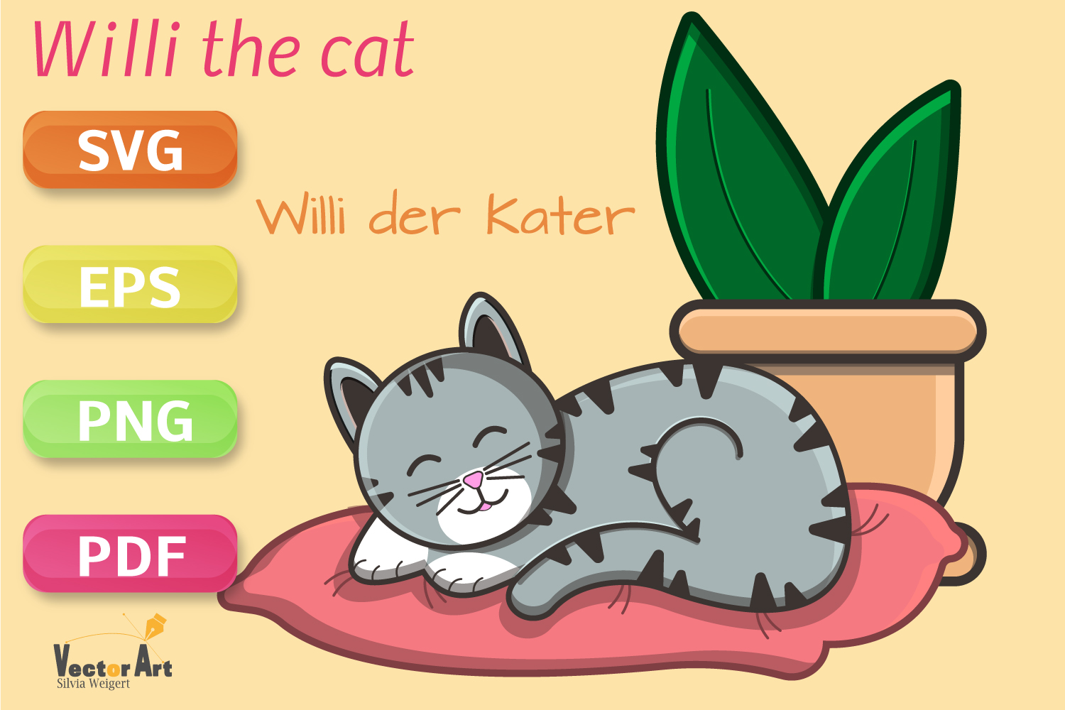 Sleeping Cat on Pillow with Succulent - File for Crafters example image 1