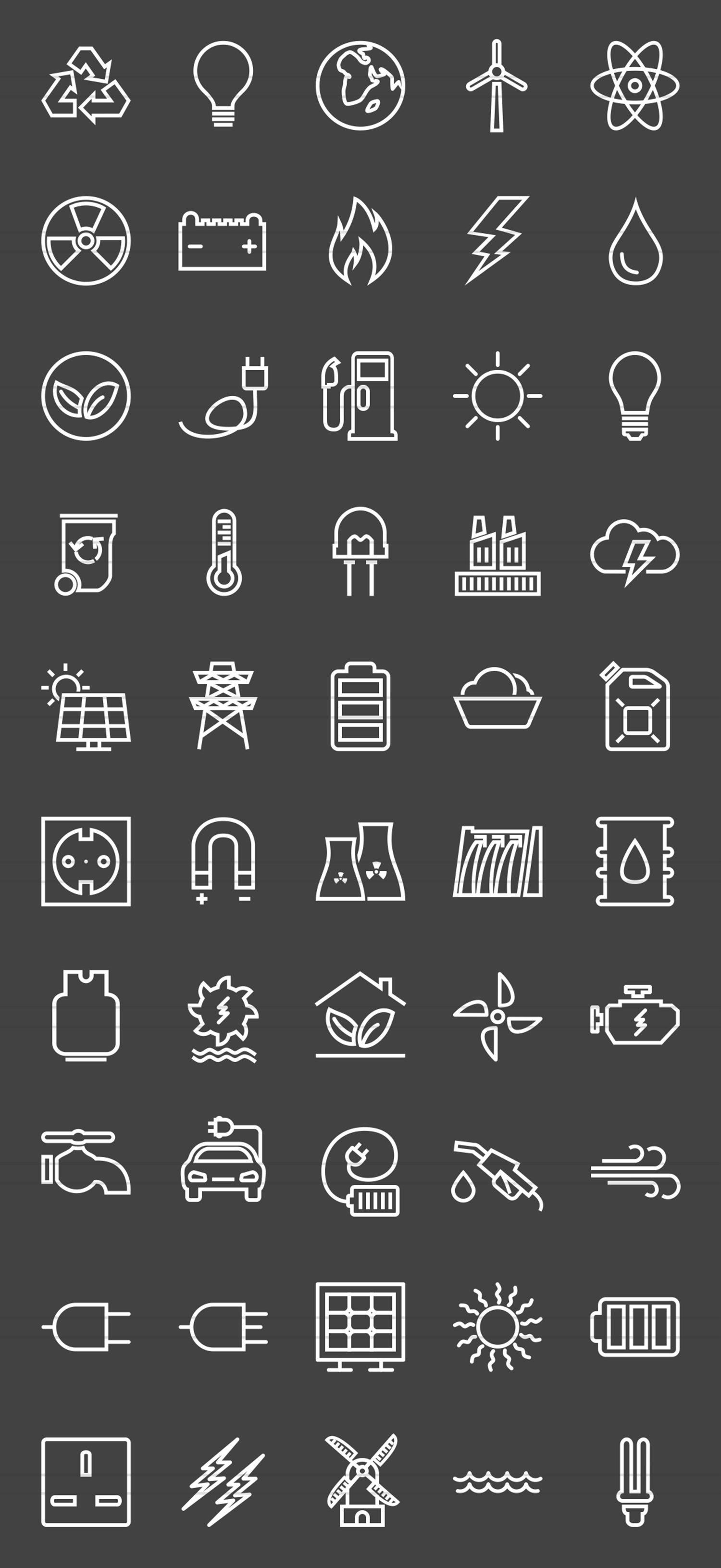 50 Energy Line Inverted Icons example image 2
