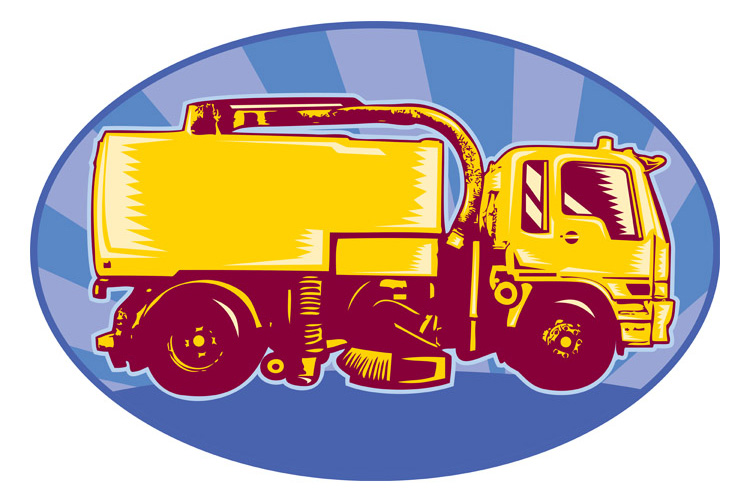 street cleaner sweeper truck side view retro example image 1
