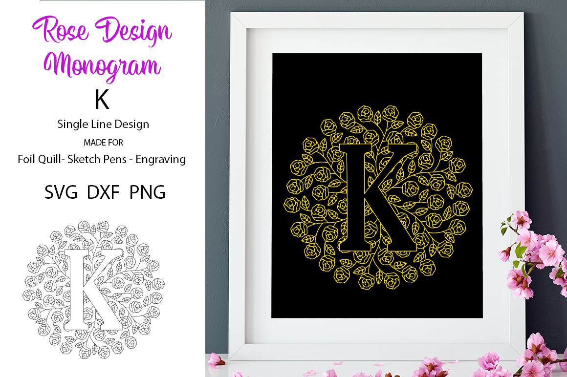 Monogram K Foil Quill|Single Line|Mandala example image 1