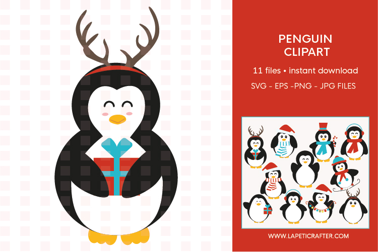 Christmas penguin clipart set, winter animals vector example image 2