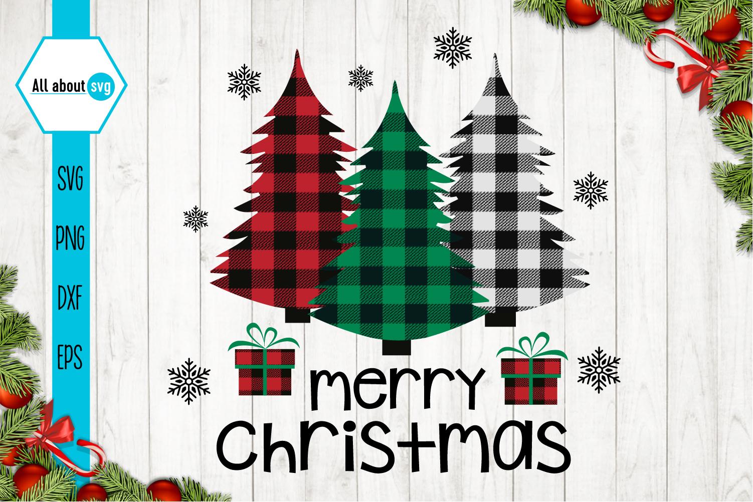 Merry Christmas, Buffalo Plaid Trees Svg example image 1