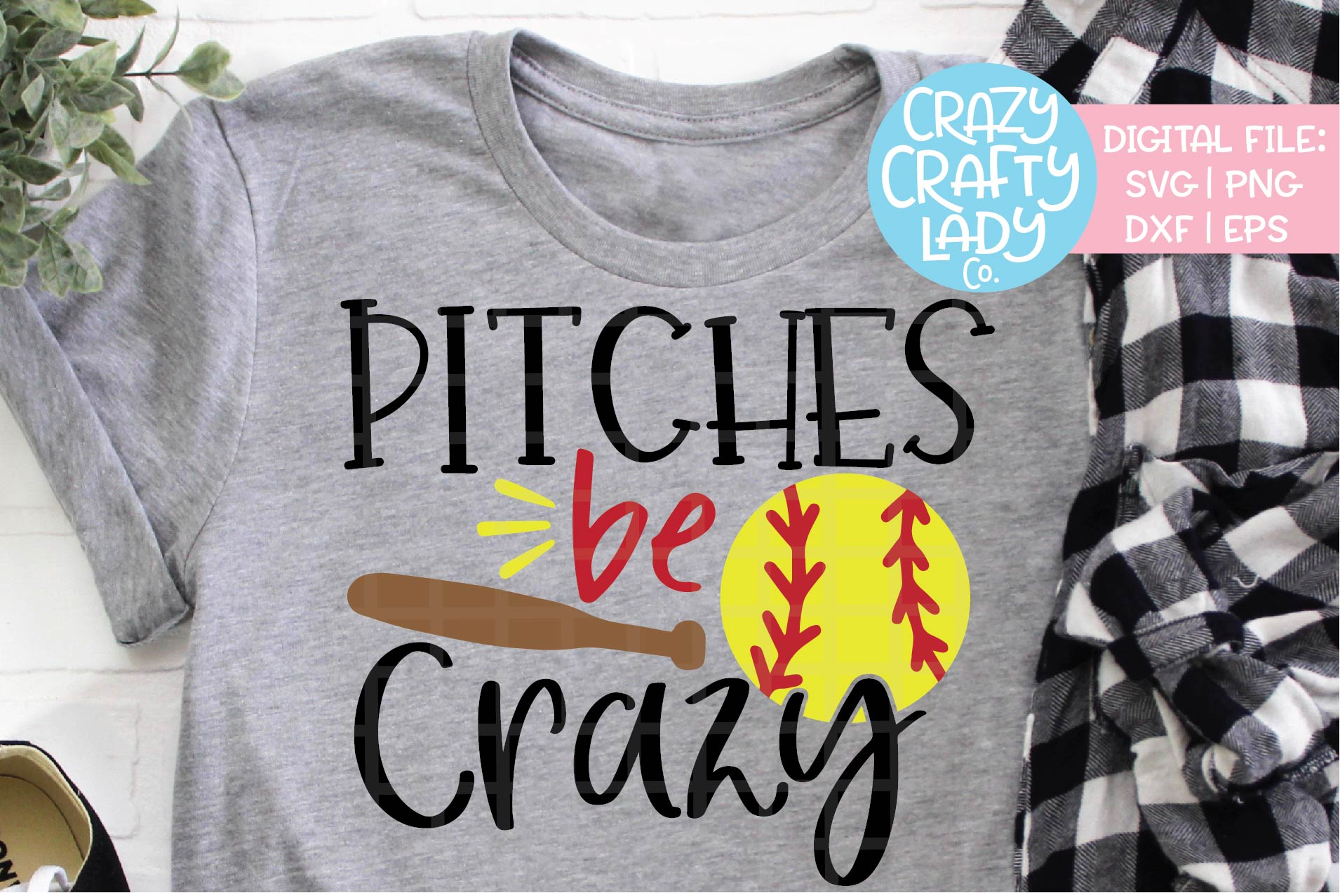 Pitches Be Crazy Softball SVG DXF EPS PNG Cut File example image 1