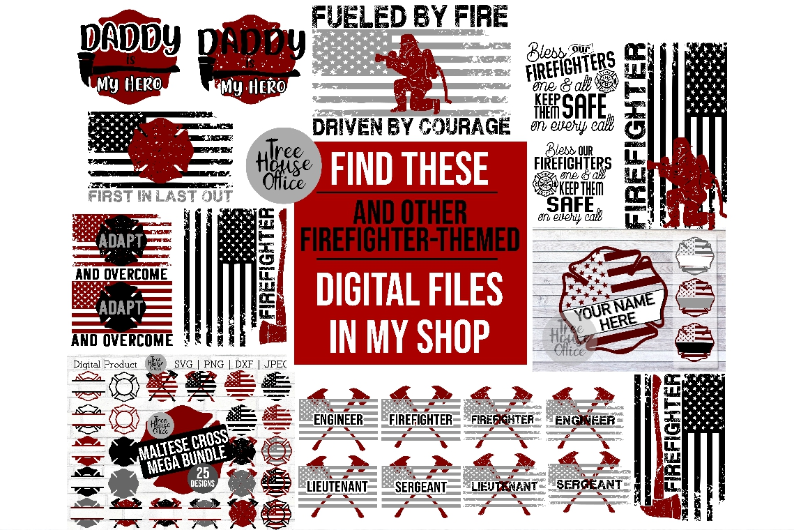 Firefighter Flag Thin Red Line SVG DXF PNG JPEG example image 2
