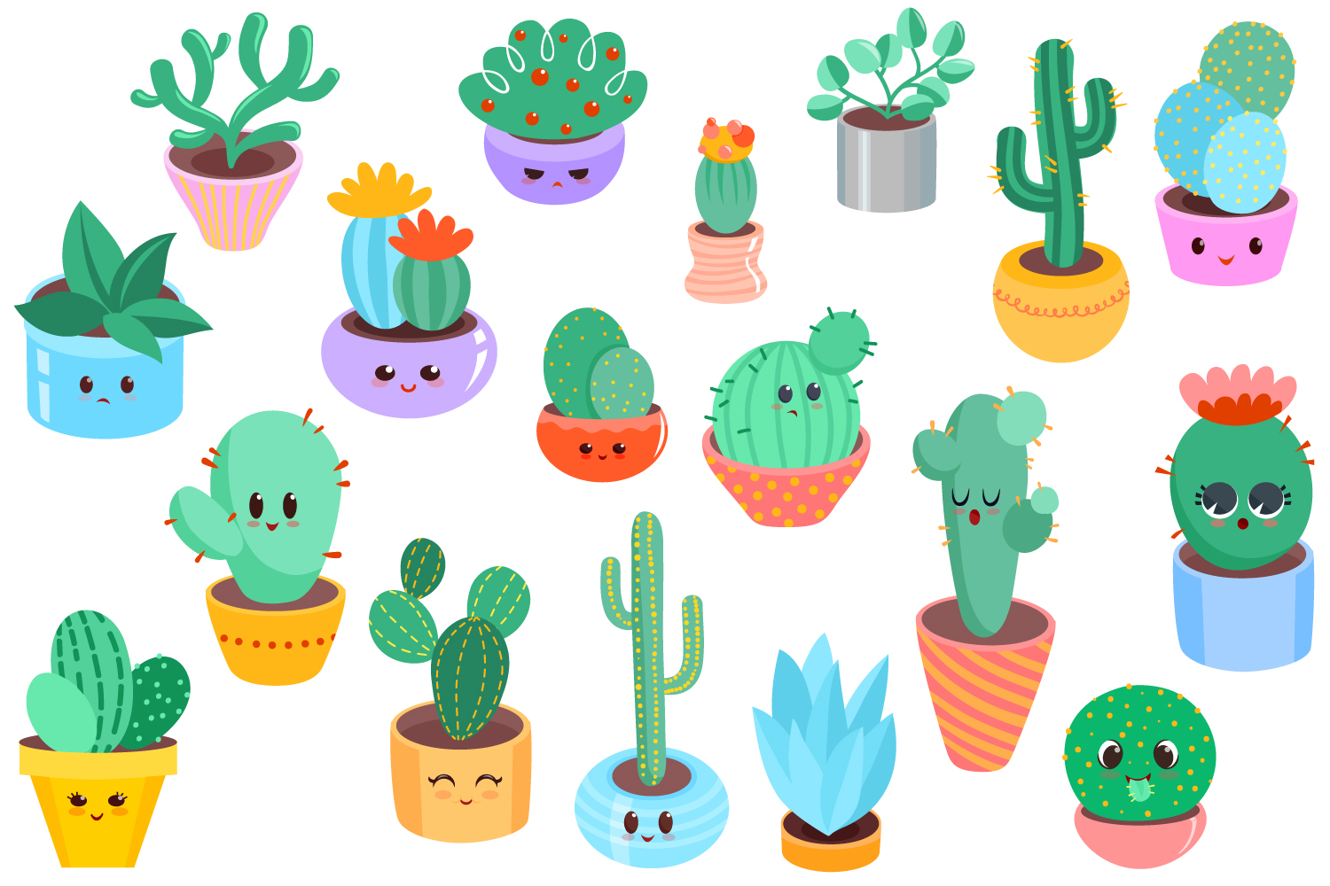 Cute Cacti Clipart - 18 vector items example image 2
