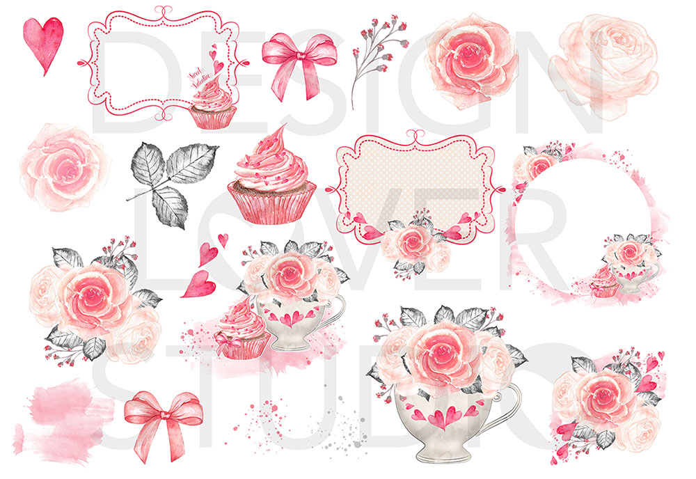 Watercolor Sweet Valentine design example image 3