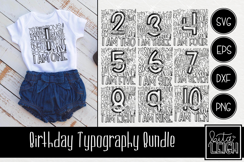 Birthday Typography Bundle example image 1