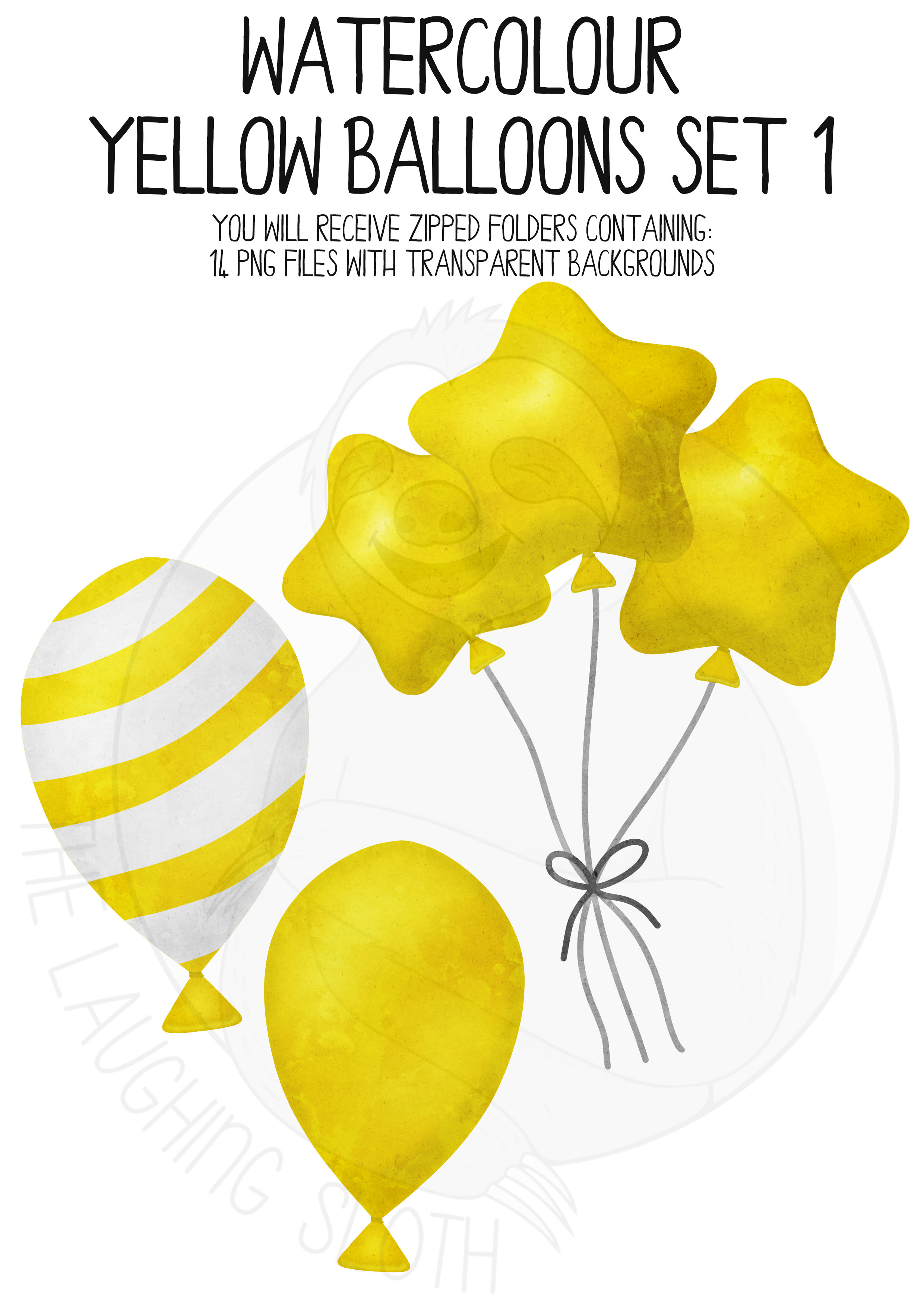 Yellow Watercolor Balloon Clipart Set example image 4