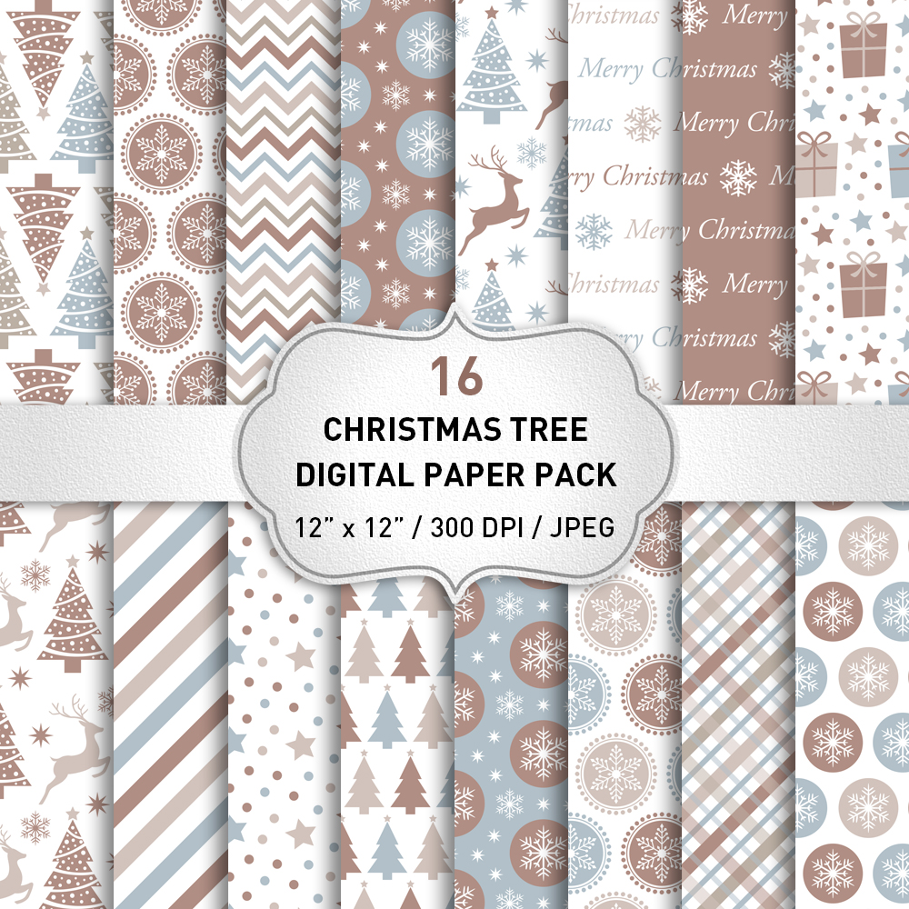 Christmas Digital Paper Pack / Backgrounds / Brown Christmas Digital Paper Set / Scrapbooking / Patterns / Printables / Card Making example image 1