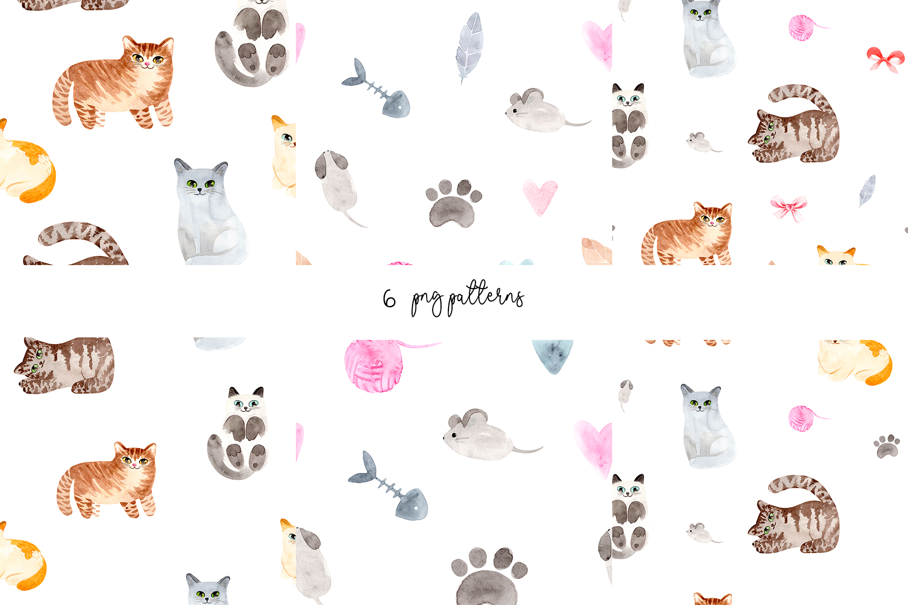 Watercolor Cute Cats. Patterns and Cliparts example image 3