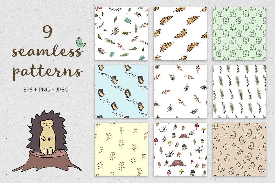 Autumn collection of hedgehogs example image 4