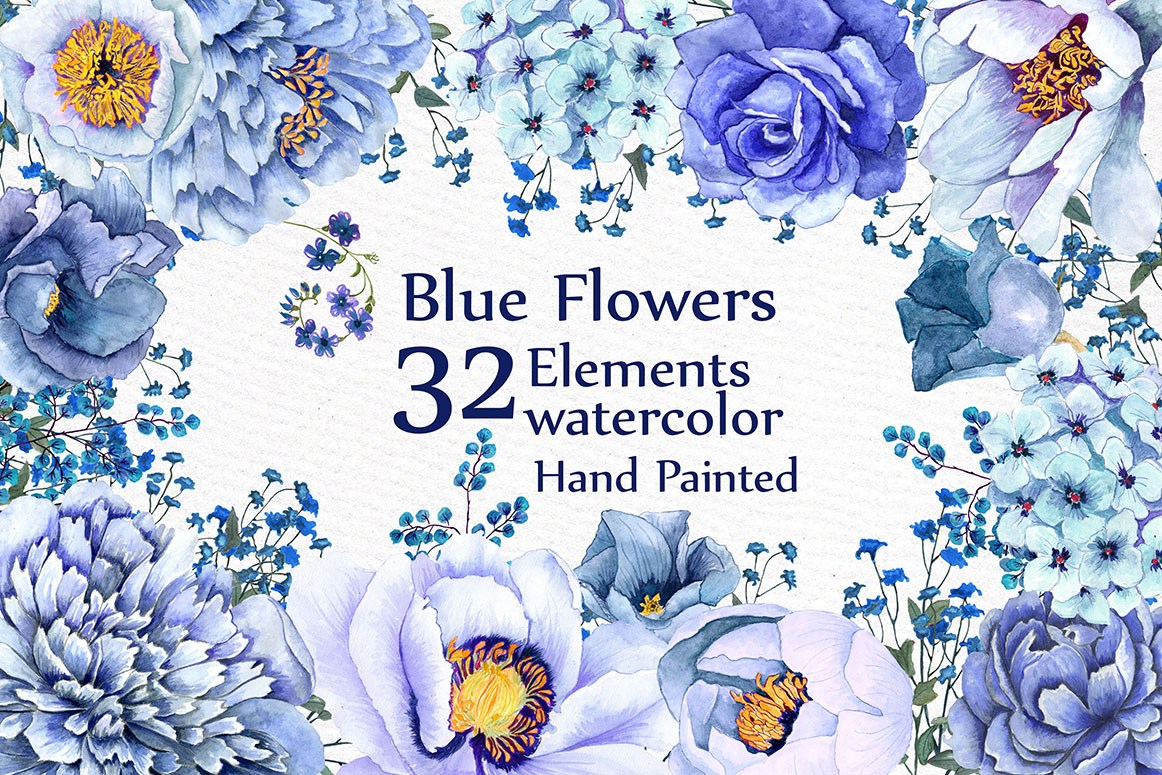 Blue watercolor flowers clipart example image 1