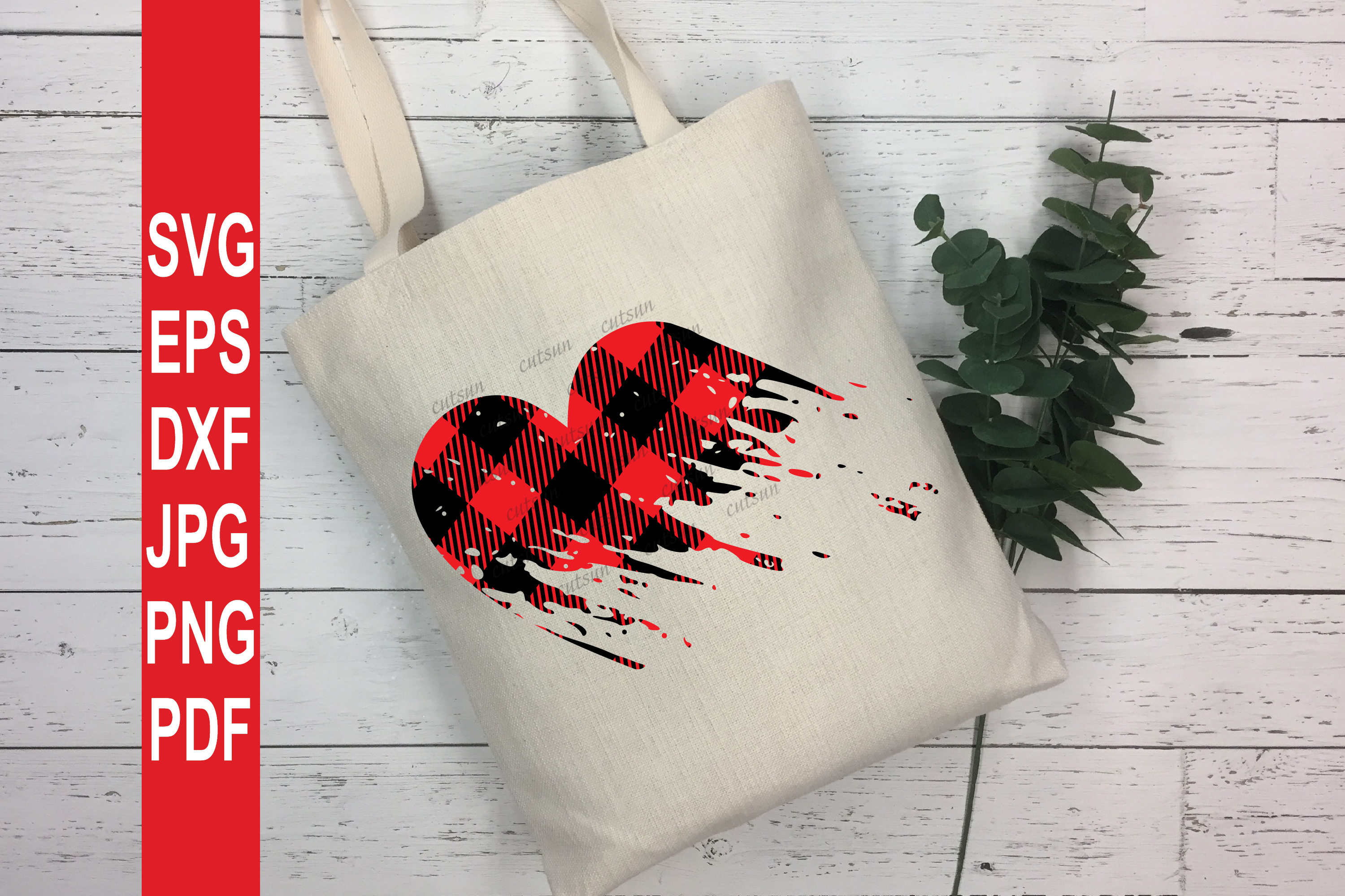 Valentine SVG| Plaid Heart Distressed SVG | Valentines day S example image 4