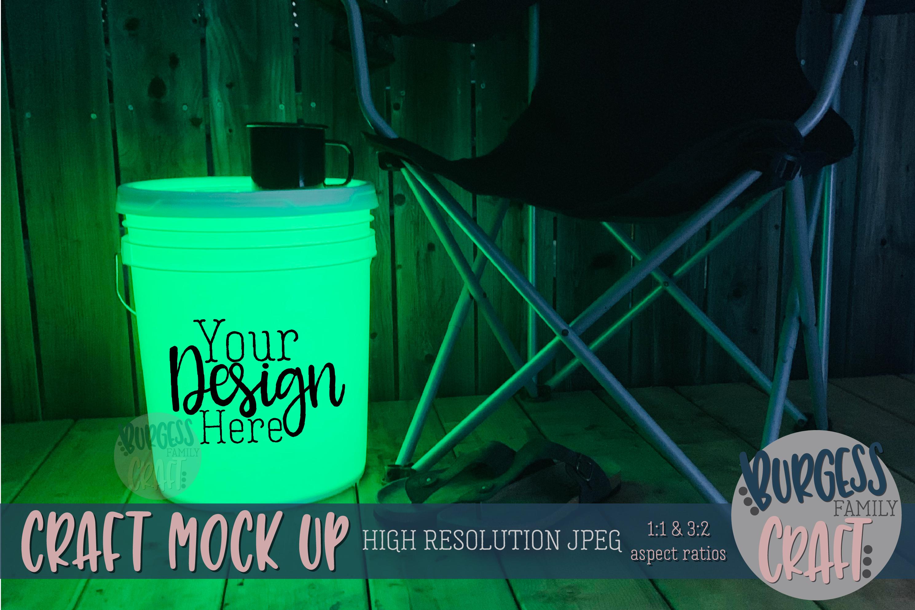 Bucket light table green Craft mock up| High Resolution JPEG example image 1