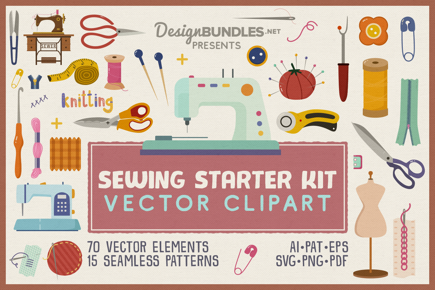 Sewing Starter Kit Vector Clipart and Seamless Pattern example image 1